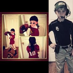 Amazing Halloween costumes for a future Bear!! RGIII one year, Coach Art Briles the next. #SicEm