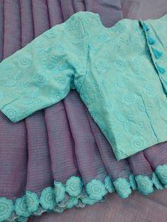 Silk Kota designer saree with designer blouse what's app Kerala Saree Blouse Designs, Cotton Saree Blouse Designs, Saree Blouse Patterns, Designer Blouse Patterns, Floral Blouse, Jute, Stylish Blouse Design, Collor, Elegant Saree