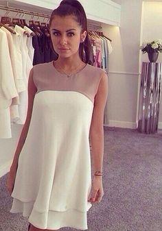 White and Light Brown Sleeveless Chiffon Dress