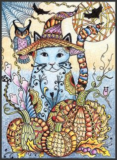 Photo Gallery: Zentangles » ZIA - Zentangle Inspired Art » Blue Kitty in the Pumpkins