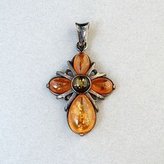 Vintage STERLING Silver Baltic AMBER CROSS Pendant by YearsAfter