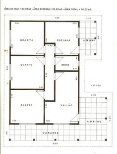 Simple House Design, Tiny House Design, Modern House Design, Layouts Casa, House Layouts, Bungalow Floor Plans, House Floor Plans, Small Modern House Plans, Architecture Drawing Plan