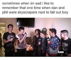 """Fun fact: Phan are actually giants and everyone in FoB is about less than 5""""10…"""