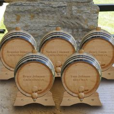 Groomsmen gifts work best in sets! Get this set of 5 Mini Oak Whiskey Barrels to store your groomsman's favorite whiskey, wine or bourbon. A perfect bridal party gift they will use.