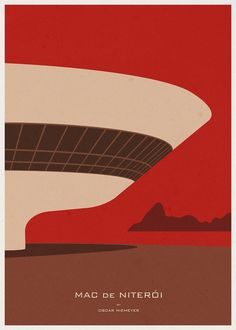 Minimalist Architecture Posters by Andre Chiote - Niterói Contemporary Art Museum, Oscar Niemeyer