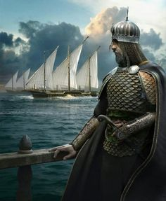 Saracen Commander and a Fleet of Caravels Fantasy Rpg, Medieval Fantasy, Fantasy Character Design, Character Art, Turkey History, Turkish Soldiers, Knight Art, Château Fort, Ottoman Empire