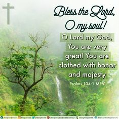 Bless the Lord, O my soul! O Lord my God, You are very great! You are clothed with honor and majesty, Psalms 104:1 MEV
