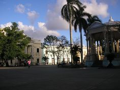 A view of the main square Santa Clara,Villa Clara, Cuba. The centre of the town bonded on all sides by buildings , shops and restaurants.
