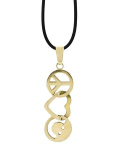 Peace Love World Trademark Necklace Yellow Gold With Rubber Cord Http Peaceloveworld