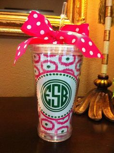 Ikat Personalized Cup via Etsy