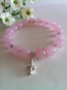 AAA Grade Natural Rose Quartz with Sterling Silver by RainbowKnit, $28.00