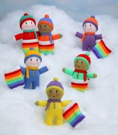 Ravelry: Project Gallery for Rainbow Babies pattern by Jean Greenhowe free knitting pattern available. Knitting Dolls Free Patterns, Knitted Dolls Free, Crochet Dolls, Doll Patterns, Free Knitting, Baby Knitting, Crochet Baby, Crochet Food, Knitted Rainbow Dolls