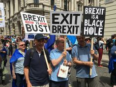 On the Peoples Vote March Sat 23rd June. London, UK. #PeoplesVoteMarch #PeoplesVote Pictured with placards: Paul Morrison, Vic Seidler, Andy Porter. Brexit is bust; Exit Brexit; Brexit is a black hole.