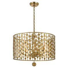 Layla 6 Light Drum Chandelier ❤ liked on Polyvore featuring home, lighting, ceiling lights, drum lights, drum lamp-shade, hanging drum lights, golden lighting and drum chandelier lighting