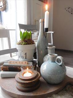 Veel groen op de salontafel... Home And Living, Dining Room, Home And Garden, Table Decorations, Winter, Interior, Happy, Inspiration, Home Decor