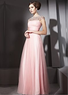 In Stock Gorgeous Malay Satin & Transparent Net  A-line  High Collar Neckline Floor-length Evening Dress  With Beads