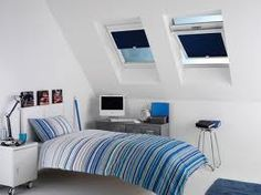 Skylight shades or window blinds offer several benefits, mainly energy savings (since you can do away with heating & cooling devices for the room). Attic Bedroom Storage, Attic Master Bedroom, Attic Bedroom Designs, Attic Bedrooms, Attic Design, Skylight Shade, Skylight Window, Diy Design, Design Your Home