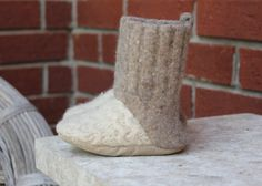 ac6c8b281c0 Oatmeal Felted Wool Baby Boots with Leather Sole--Made from Re-purposed 100