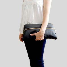 ValhallaBrooklyn | XL Leather Clutch in Black