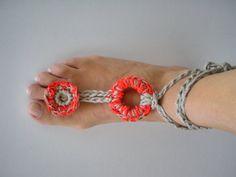 cavigliera gioiello uncinetto estate rosso corallo, by Nerina, 11,00 € su #misshobby