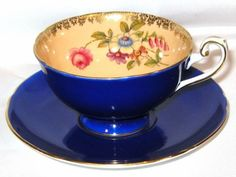 Shelley...Stunning Cobalt Blue/Peach with floral design teacup and saucer
