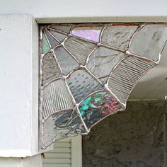 These Stained Glass Spiderweb corners truly make awesome magical & whimsical decor! Keep up all year or just for Fall & Halloween, This Handcrafted Piece is a showcase piece all in itself. Adorn in your window & room corners or for your outdoor decor! Each piece is hand crafted to order and will include a variety of different clear textures & types of glass, making each one individually special & unique JUST like a real spider web! To hang your Webbing just apply Tack...
