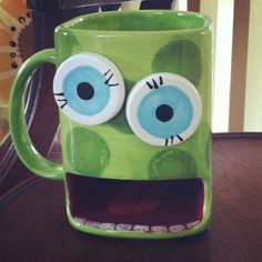 Create a monster using our Dunk Mug #4119 and our Round Bisquies for the eyes.  Photo courtesy of Pottery Bayou!