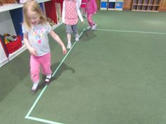 Developing large motor skills by playing on the line
