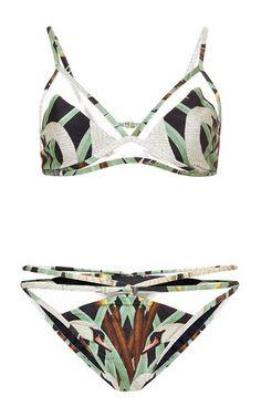 Adriana Degreas - Printed Tulle-Paneled Bikini