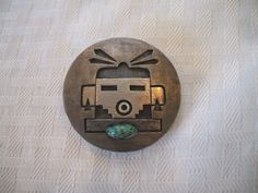 Signed NATHAN FRED Vintage HOPI Sterling Silver Overlay & Turquoise Pin/Pendant