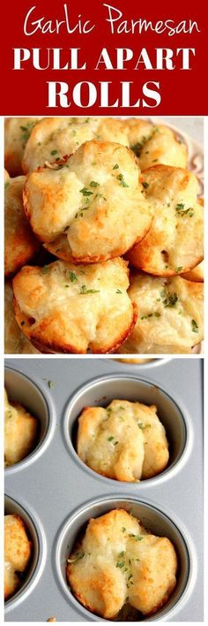 Garlic Parmesan Pull Apart Rolls Recipe - easy, perfectly cheesy and garlicky rolls! You will love these as an appetizer or to go with pasta dinner or soup! (recipes with biscuits pillsbury) Fingerfood Recipes, Pull Apart Rolls Recipe, Pull Apart Garlic Rolls, Fingers Food, Bread Recipes, Cooking Recipes, Soup Recipes, Healthy Recipes, Chicken Recipes