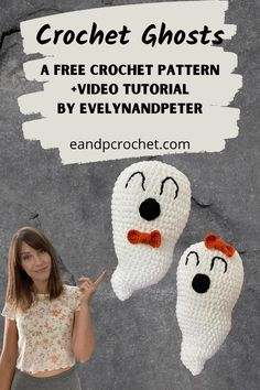 The Crochet Ghost Amigurumi Tutorial is a FREE crochet pattern by EvelynAndPeter! Includes a video tutorial and is beginner friendly! Super fun to work up for Halloween! #crochetghost #crochetpattern #crochettutorial #easycrochet #beginnercrochet #freecrochetpattern #amigurumi #crochetvideotutorial #evelynandpeter #spookyseason Finger Crochet, Easy Crochet, Crochet Hooks, Free Crochet, Crochet Fall, Holiday Crochet, Crochet Things, Halloween Crochet Patterns, Knit Patterns