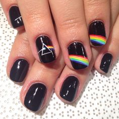 Pink Floyd nails: dark side of the moon Band Nails, Rock Nails, Edgy Nails, Funky Nails, Trendy Nails, Swag Nails, Cute Nails, Music Nails, Music Nail Art