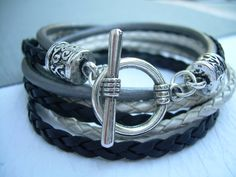 Womens Leather Bracelet Black Silver by UrbanSurvivalGearUSA, $23.99