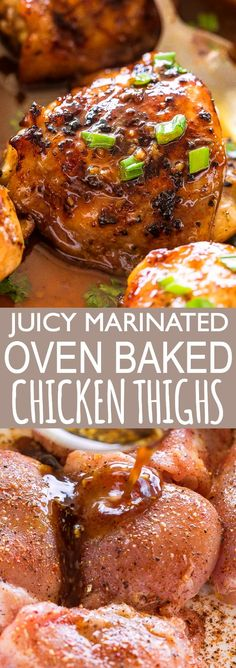 one pan dinners chicken Easy Oven Baked Chicken Thighs Recipe - One Pan Dinner Idea! - These juicy oven baked chicken thighs make a delicious & simple dinner. Smothered in a sweet soy sauce, you'll love this easy chicken recipe! Chicken Thigh Recipes Oven, Oven Baked Chicken Thighs, Chicken Thights Recipes, Easy Chicken Recipes, Bake Chicken In Oven, Recipe For Marinated Chicken Thighs, Keto Chicken, Baked Chicken With Sauce, Best Chicken Thigh Recipe