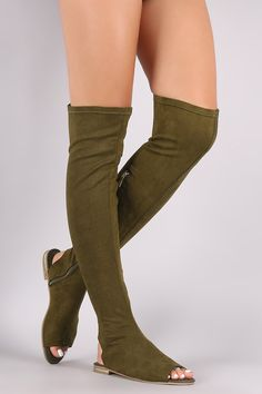 This sandal features a stretchy vegan suede shaft with partial elastic gusset insert, open toe silhouette, cutout heel counter, and metallic accent heel. Thigh High Boots, Thigh Highs, Leg Warmers, Open Toe, Bamboo, Sandals, Heels, Style, Athletics