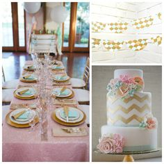 gold decor | Party Palette: Turquoise, Gold & Pink