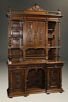 ~ Antique 19th c. French Henry II Style Hand Carved Buffet in Walnut c. 1890 ~ beauchampantiques.com