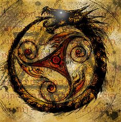 Mark of the Ouroboros with triskele in middle by ~Don-Pachi on deviantART Norse Tattoo, Celtic Tattoos, Viking Dragon Tattoo, Neue Tattoos, Body Art Tattoos, Cool Tattoos, Arte Viking, Celtic Symbols, Design Tattoos