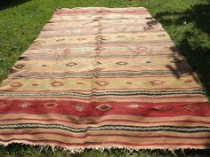 Hand Knotted Old Rug, 5x8 feet Nomadic Kilim, Vintage Naturally Dyed Area Rug