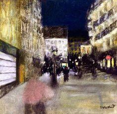 """Édouard Vuillard (1868 - 1940) was een Frans kunstschilder. Hij maakte deel uit van de kunstenaarsgroep Les Nabis. """"Parijs bij nacht"""""""