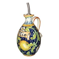Online shopping for Italian artisans from a great selection at Handmade Products Store. 3 Gallon Beverage Dispenser, Oil Bottle, Blue Backgrounds, Pottery Art, Ceramic Art, Christmas Bulbs, Artisan, Hand Painted, Ceramics