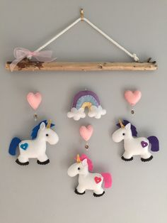 Unicorn Driftwood Mobile by HeartFELTHangables on Etsy Baby Crafts, Felt Crafts, Fabric Crafts, Diy And Crafts, Crafts For Kids, Driftwood Mobile, Felt Baby, Felt Patterns, Felt Fabric