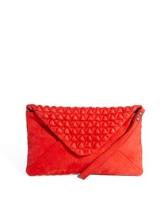 Maison Scotch Quilted Soft Leather Clutch Bag