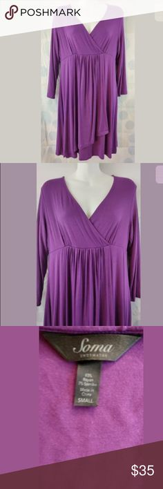 Soma Small Plum Purple Dress Hello and thank you for checking out my items! We list new items every single day so check back often for great deals!  Women's Soma Dress  Size Small  Dark Purple  93% Polyester, 7% Spandex  Long Sleeve  19 inches across chest from pit to pit  36 inches from shoulder down to end Soma Dresses Midi