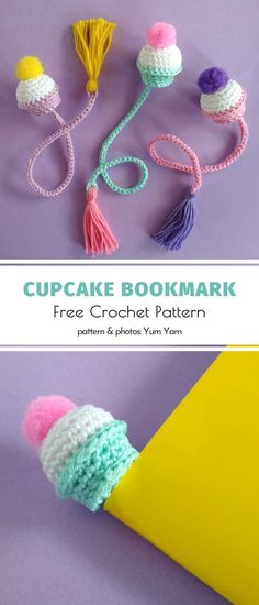 Cupcake Bookmark Free Crochet Pattern - Amigurumi and Toys free - Sweet Amigurumi Cupcakes. Any bookworms here? If you love crocheting and baking cupcakes, you proba - Marque-pages Au Crochet, Crochet Home, Crochet Gifts, Free Crochet, Crochet Baby, Crochet Cupcake, Amigurumi For Beginners, Crochet For Beginners, Crochet Projects