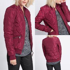 Plus Womens Bomber Jacket Ladies Classic Padded Wintervintage Zip Up Biker Coat