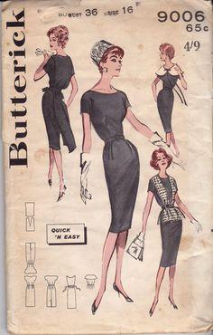 Butterick 9006, circa 1960s. Misses Quick n Easy Bonus Basic. Scoop neck basic sheath offers many smart changes! the flattering oversized