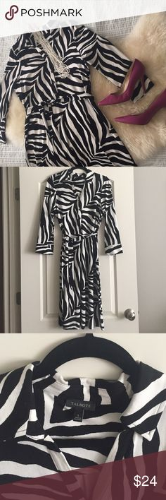 Talbots super stretchy zebra dress Collared with a tie at the waist. Great fabric for all day wear. Talbots Dresses