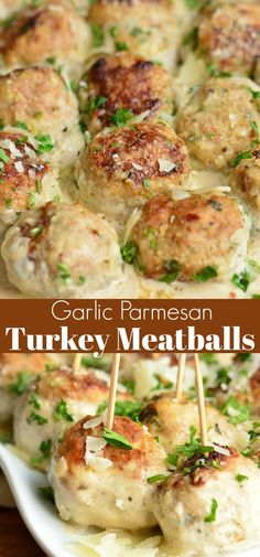 meatball recipes Juicy Turkey Meatballs are packed with flavors of garlic, Parmesan cheese, and herbs. Paired perfectly with a simple Garlic Parmesan Cream Sauce. Ground Turkey Meatballs, Healthy Turkey Meatballs, Turkey Meatball Sauce, Chicken Parmesan Meatballs, Turkey Balls Recipe Healthy, Meatballs With Cheese, Sauce For Meatballs, Recipes With Meatballs, Frozen Turkey Meatballs
